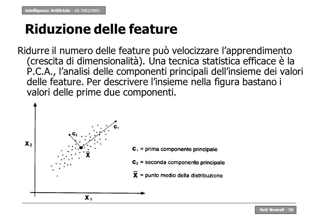 Intelligenza Artificiale - AA 2002/2003 Reti Neurali - 59 Riduzione delle feature Ridurre il numero delle feature può velocizzare lapprendimento (cres