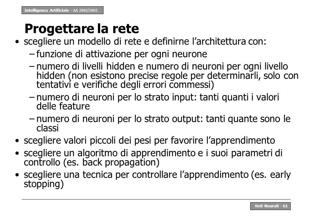 Intelligenza Artificiale - AA 2002/2003 Reti Neurali - 61 Progettare la rete scegliere un modello di rete e definirne larchitettura con: –funzione di