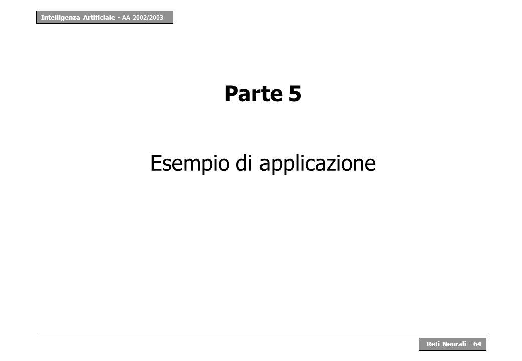 Intelligenza Artificiale - AA 2002/2003 Reti Neurali - 64 Parte 5 Esempio di applicazione