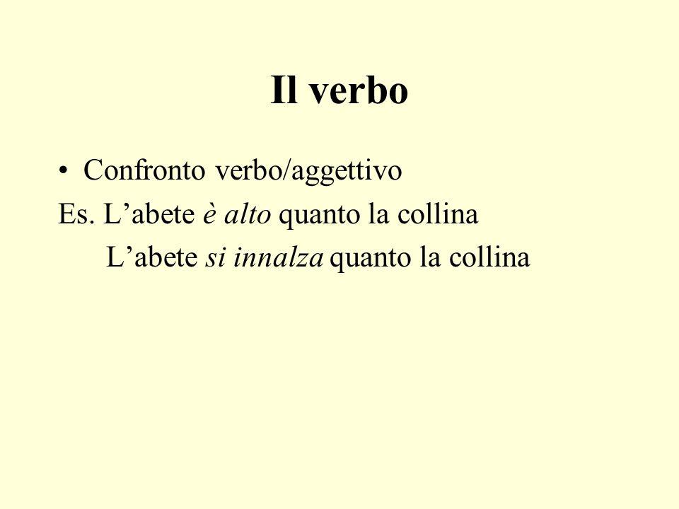 Il verbo Confronto verbo/aggettivo Es.