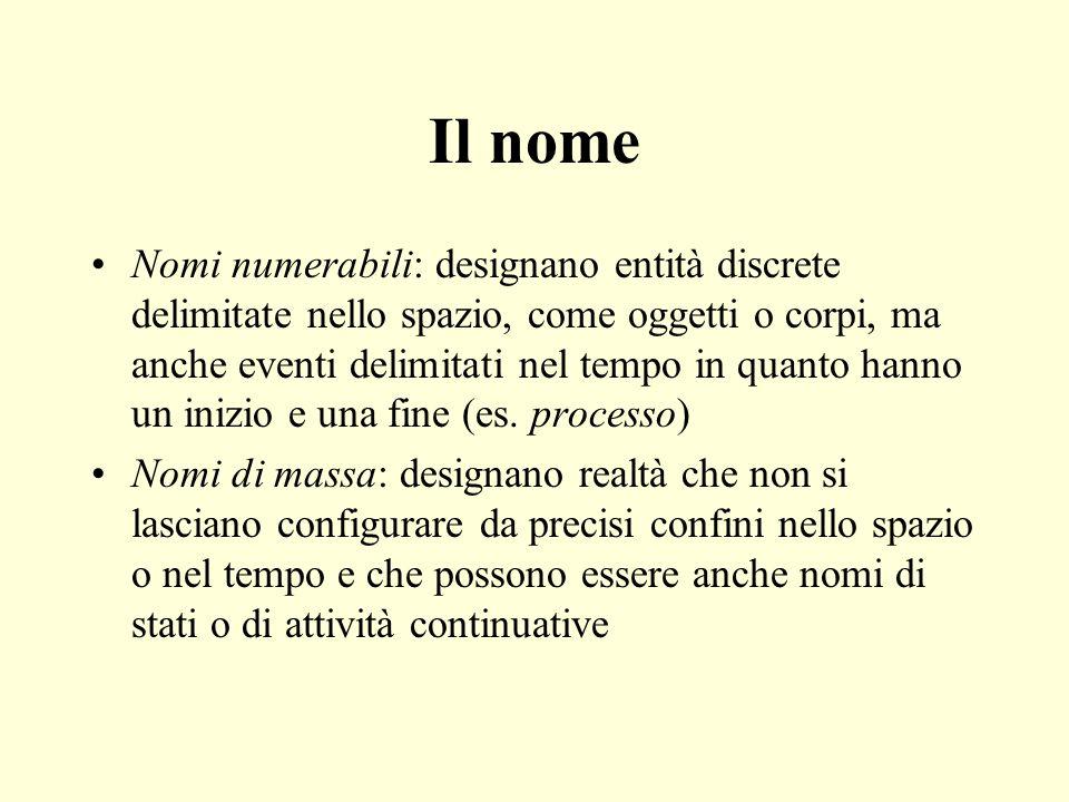 Il nome Nomi numerabili: designano entità discrete delimitate nello spazio, come oggetti o corpi, ma anche eventi delimitati nel tempo in quanto hanno un inizio e una fine (es.