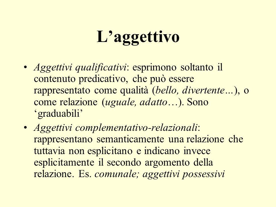 Laggettivo Aggettivi qualificativi: esprimono soltanto il contenuto predicativo, che può essere rappresentato come qualità (bello, divertente…), o come relazione (uguale, adatto…).