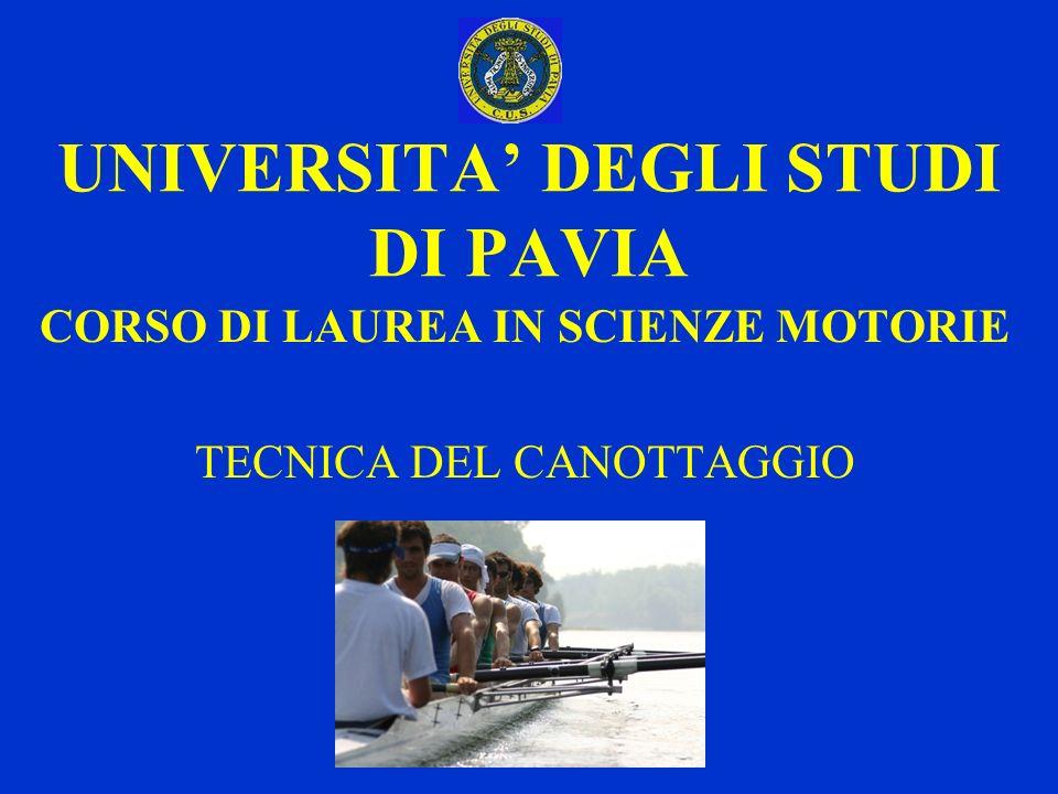 UNIVERSITA DEGLI STUDI DI PAVIA CORSO DI LAUREA IN SCIENZE MOTORIE TECNICA DEL CANOTTAGGIO