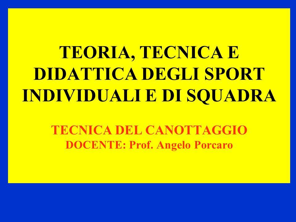 TEORIA, TECNICA E DIDATTICA DEGLI SPORT INDIVIDUALI E DI SQUADRA TECNICA DEL CANOTTAGGIO DOCENTE: Prof. Angelo Porcaro