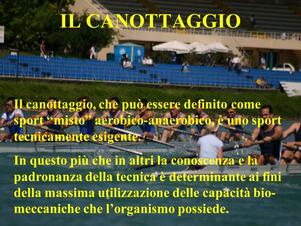 IL CANOTTAGGIO Il canottaggio, che può essere definito come sport misto aerobico-anaerobico, è uno sport tecnicamente esigente. In questo più che in a