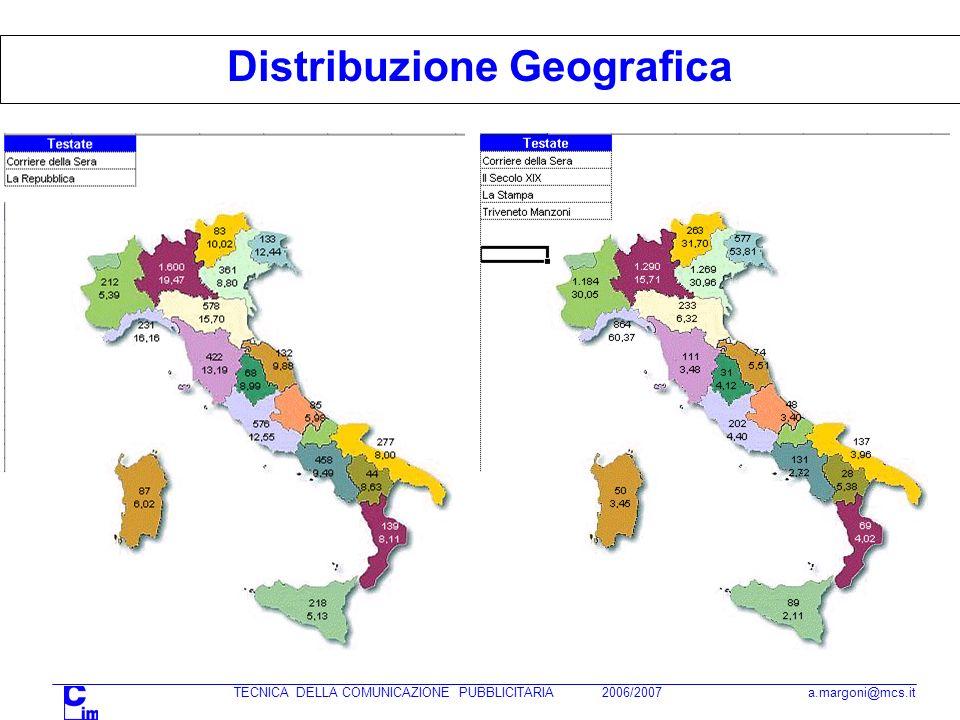 TECNICA DELLA COMUNICAZIONE PUBBLICITARIA 2006/2007 a.margoni@mcs.it Distribuzione Geografica
