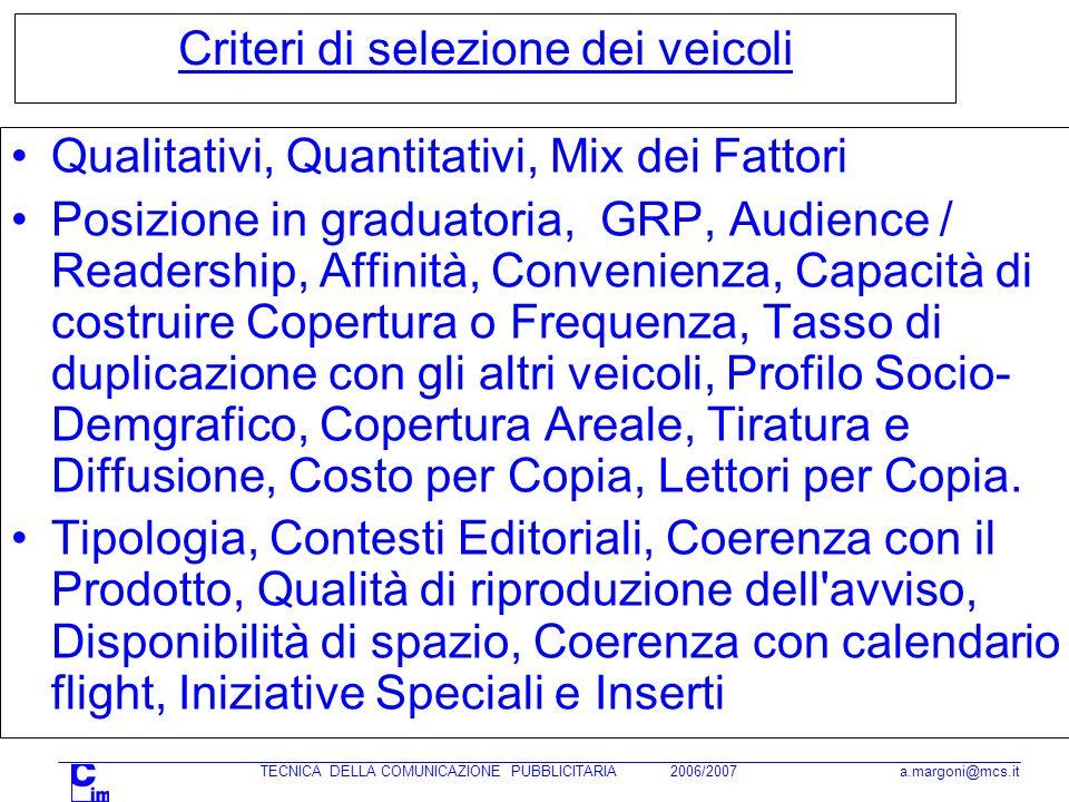 TECNICA DELLA COMUNICAZIONE PUBBLICITARIA 2006/2007 a.margoni@mcs.it Criteri di selezione dei veicoli Qualitativi, Quantitativi, Mix dei Fattori Posiz