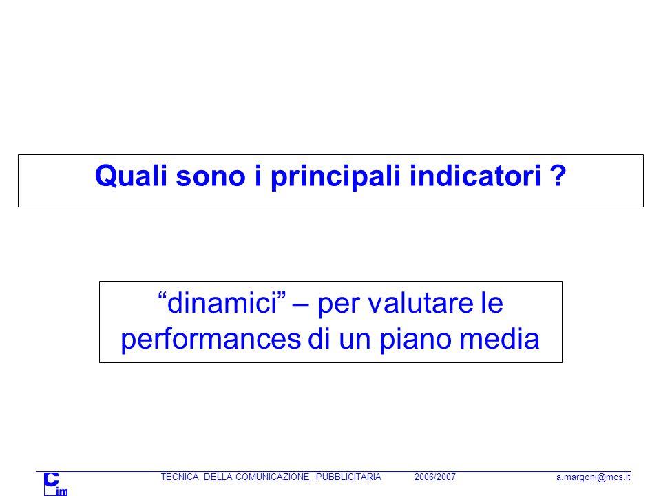 TECNICA DELLA COMUNICAZIONE PUBBLICITARIA 2006/2007 a.margoni@mcs.it Quali sono i principali indicatori ? dinamici – per valutare le performances di u