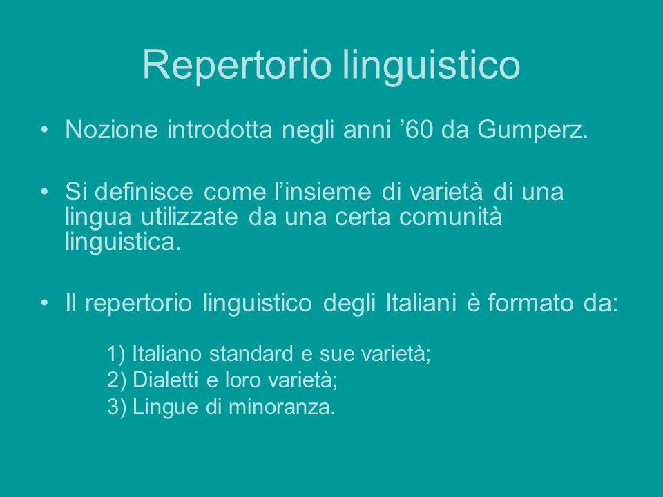 Repertorio linguistico Nozione introdotta negli anni 60 da Gumperz. Si definisce come linsieme di varietà di una lingua utilizzate da una certa comuni