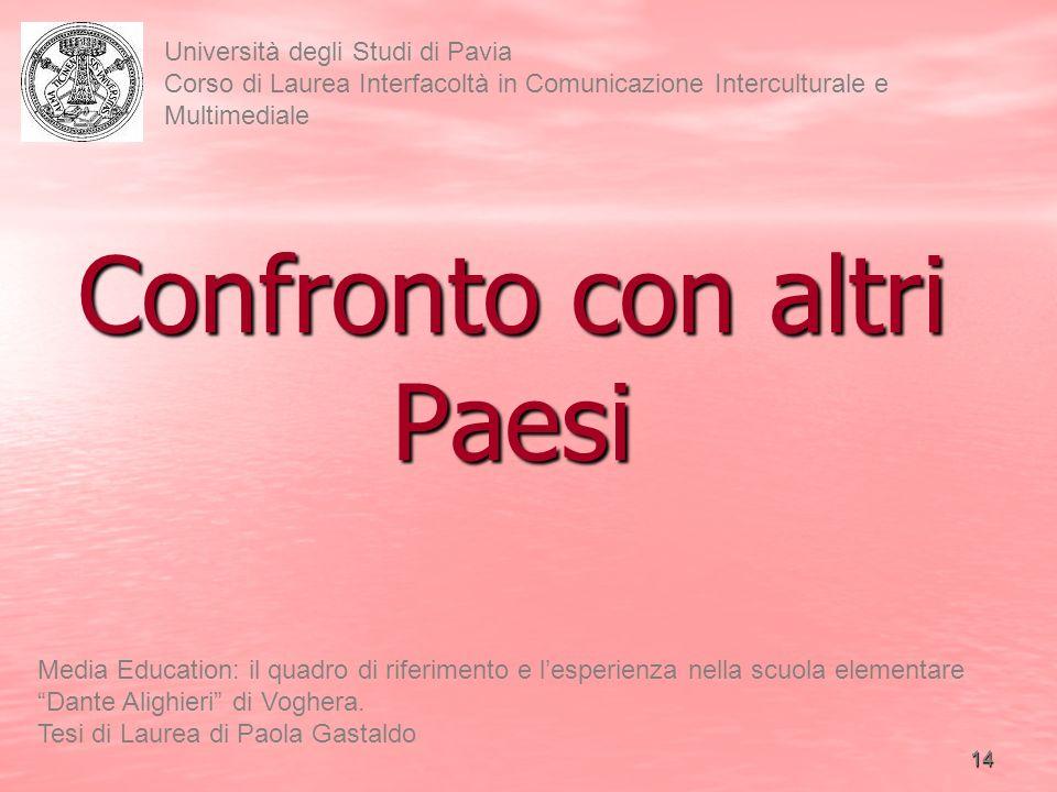 15 Università degli Studi di Pavia Corso di Laurea Interfacoltà in Comunicazione Interculturale e Multimediale Media Education: il quadro di riferimento e lesperienza nella scuola elementare Dante Alighieri di Voghera.