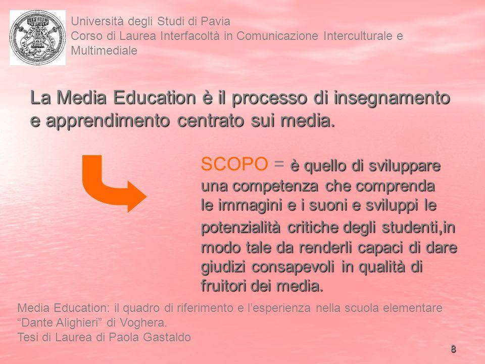 9 Università degli Studi di Pavia Corso di Laurea Interfacoltà in Comunicazione Interculturale e Multimediale Media Education: il quadro di riferimento e lesperienza nella scuola elementare Dante Alighieri di Voghera.