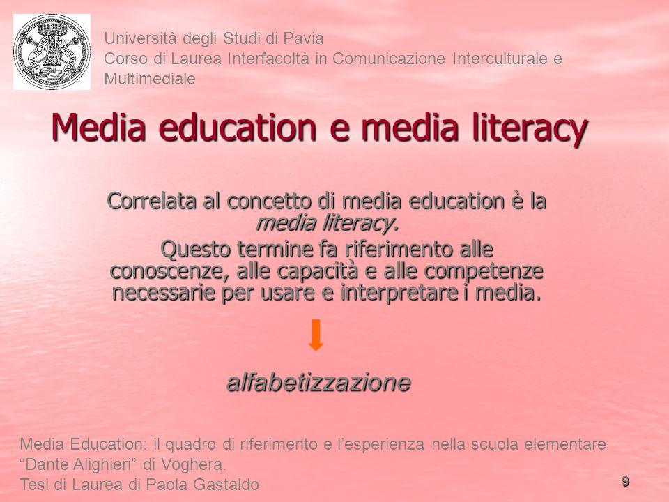 10 Università degli Studi di Pavia Corso di Laurea Interfacoltà in Comunicazione Interculturale e Multimediale Media Education: il quadro di riferimento e lesperienza nella scuola elementare Dante Alighieri di Voghera.