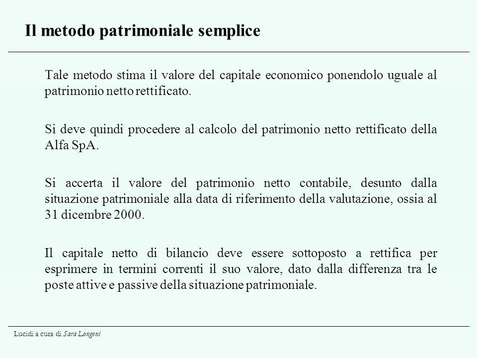 Lucidi a cura di Sara Longoni Il metodo patrimoniale semplice Tale metodo stima il valore del capitale economico ponendolo uguale al patrimonio netto