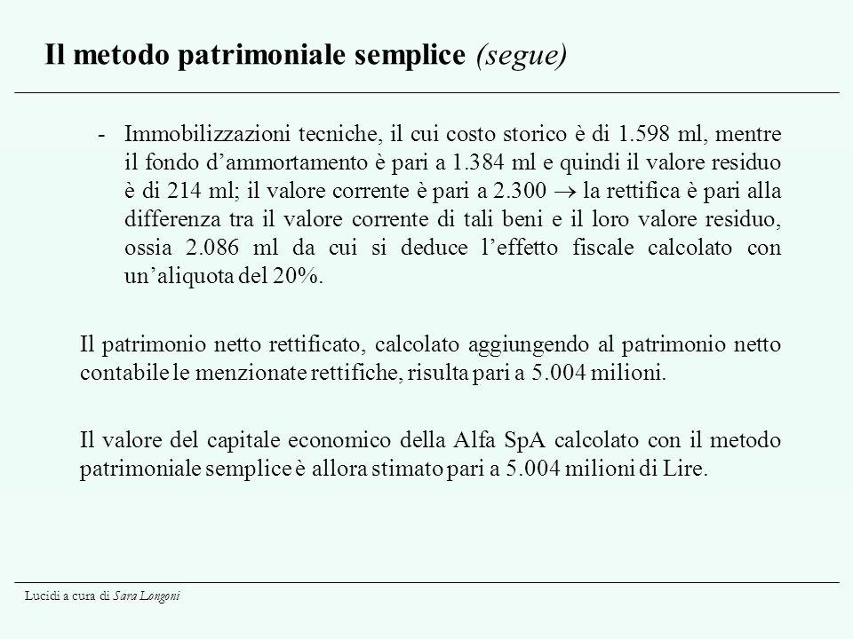 Lucidi a cura di Sara Longoni Il metodo patrimoniale semplice (segue) -Immobilizzazioni tecniche, il cui costo storico è di 1.598 ml, mentre il fondo