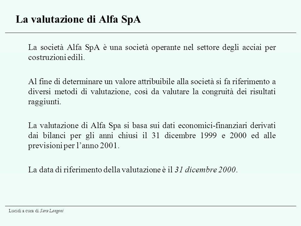 Lucidi a cura di Sara Longoni La valutazione di Alfa SpA La società Alfa SpA è una società operante nel settore degli acciai per costruzioni edili. Al