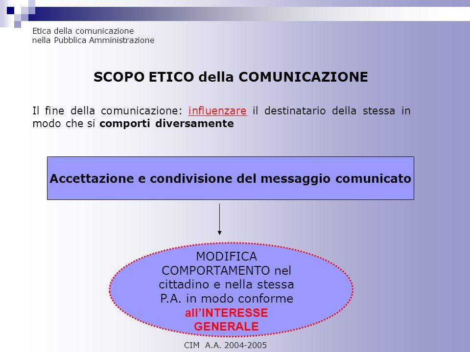 Etica della comunicazione nella Pubblica Amministrazione SCOPO ETICO della COMUNICAZIONE Il fine della comunicazione: influenzare il destinatario dell