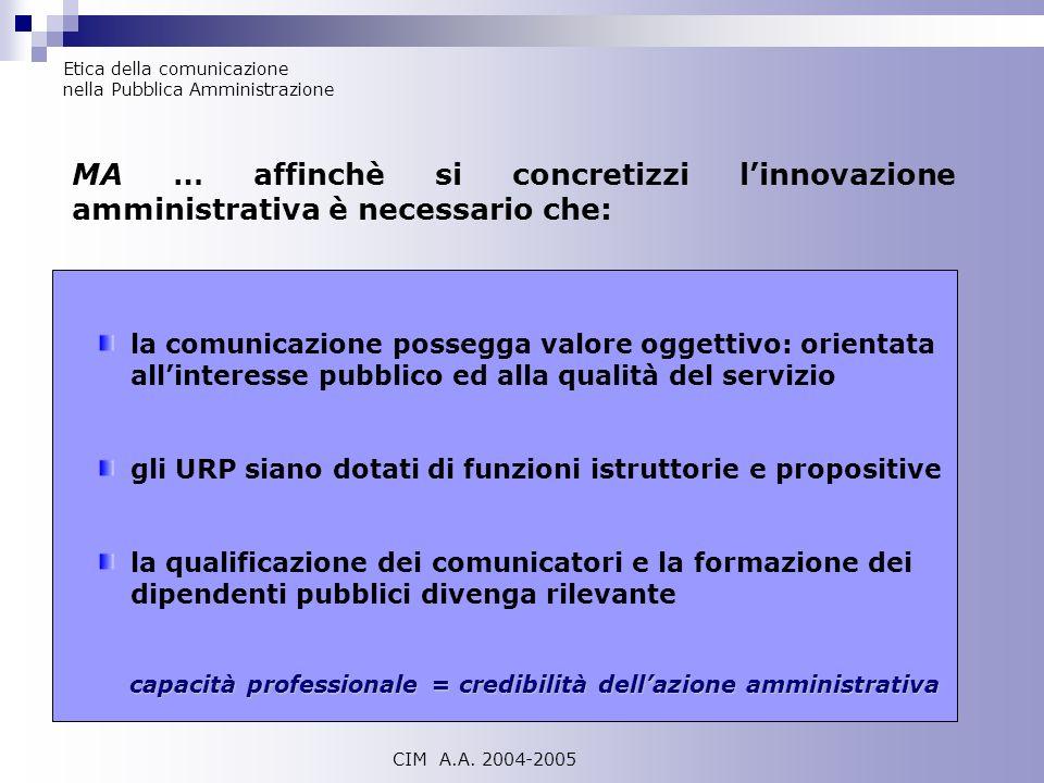 Etica della comunicazione nella Pubblica Amministrazione CIM A.A. 2004-2005 MA … affinchè si concretizzi linnovazione amministrativa è necessario che:
