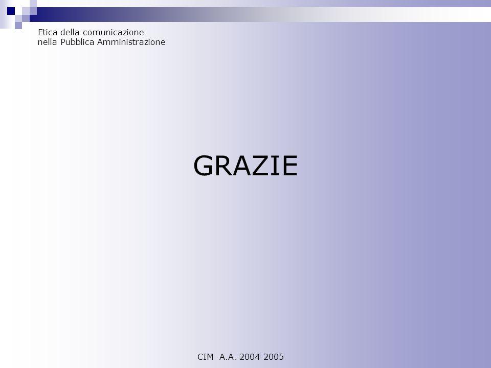 GRAZIE Etica della comunicazione nella Pubblica Amministrazione CIM A.A. 2004-2005