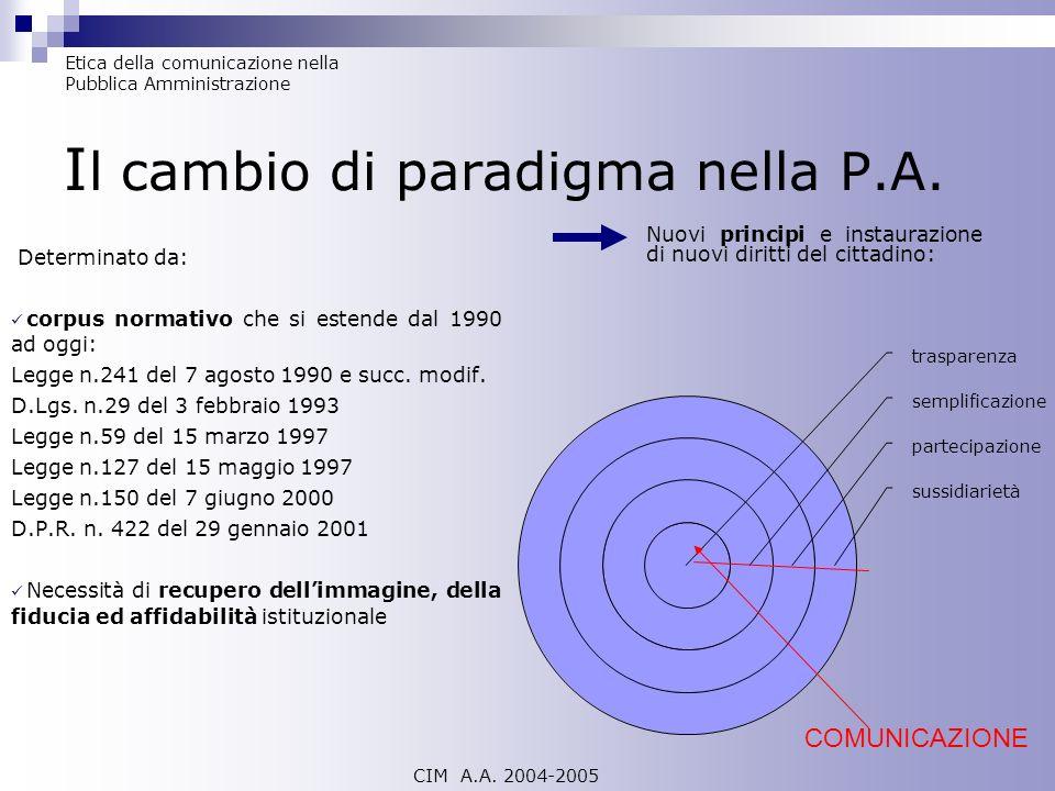 I l cambio di paradigma nella P.A. Determinato da: corpus normativo che si estende dal 1990 ad oggi: Legge n.241 del 7 agosto 1990 e succ. modif. D.Lg