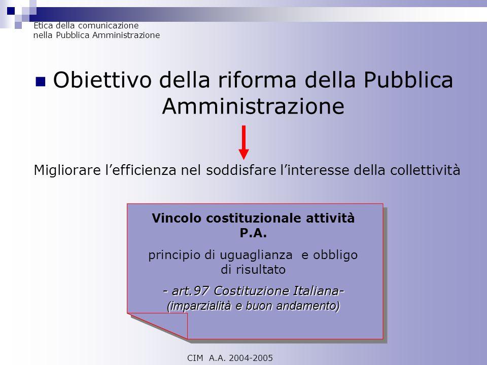 Obiettivo della riforma della Pubblica Amministrazione CIM A.A. 2004-2005 Etica della comunicazione nella Pubblica Amministrazione Migliorare lefficie