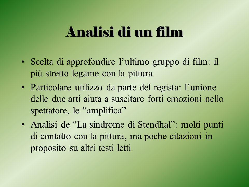 Analisi di un film Scelta di approfondire lultimo gruppo di film: il più stretto legame con la pittura Particolare utilizzo da parte del regista: luni