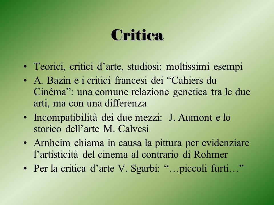 Critica Teorici, critici darte, studiosi: moltissimi esempi A. Bazin e i critici francesi dei Cahiers du Cinéma: una comune relazione genetica tra le