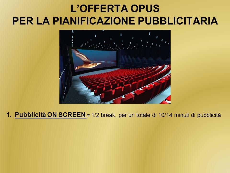 LOFFERTA OPUS PER LA PIANIFICAZIONE PUBBLICITARIA 1.Pubblicità ON SCREEN = 1/2 break, per un totale di 10/14 minuti di pubblicità