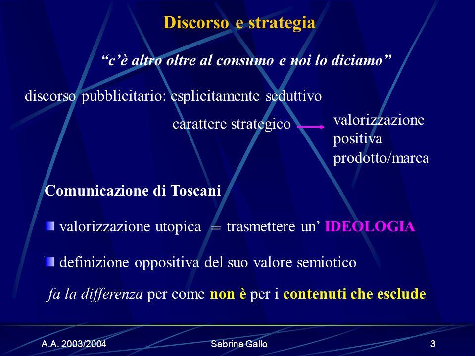 A.A. 2003/2004Sabrina Gallo3 discorso pubblicitario: esplicitamente seduttivo valorizzazione positiva prodotto/marca definizione oppositiva del suo va