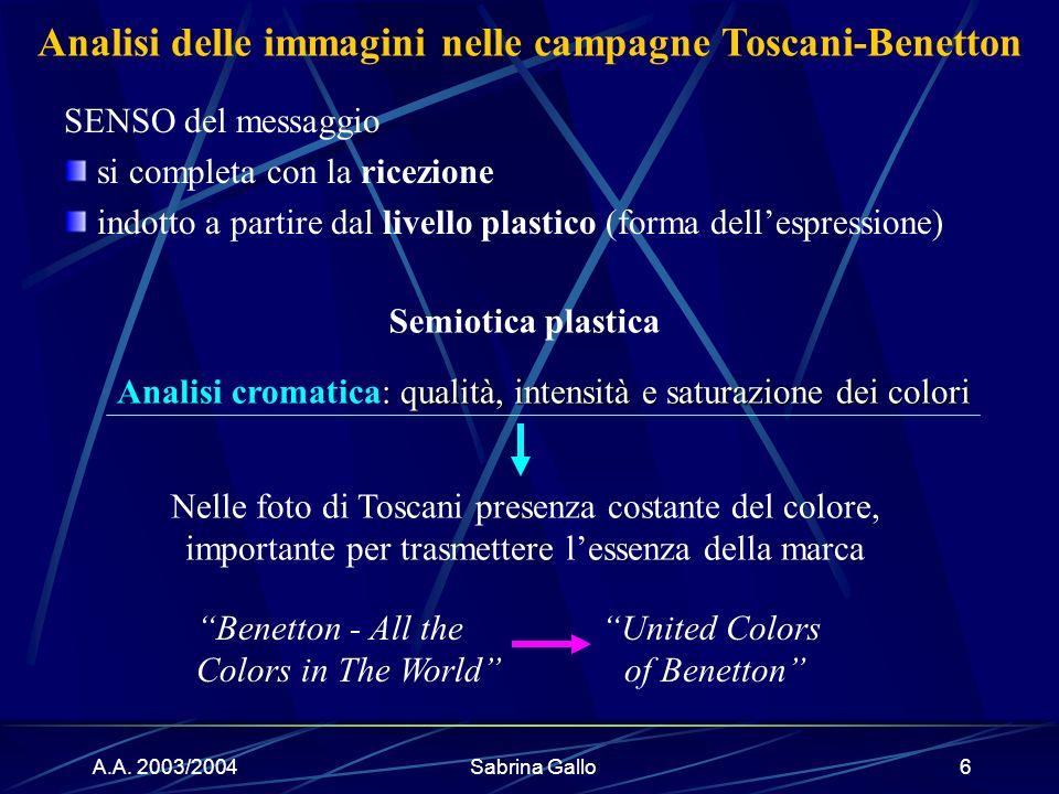 A.A. 2003/2004Sabrina Gallo6 : qualità, intensità e saturazione dei colori Analisi cromatica: qualità, intensità e saturazione dei colori Benetton - A