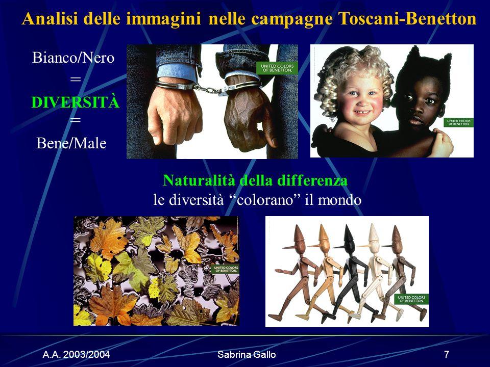 A.A. 2003/2004Sabrina Gallo7 DIVERSITÀ Naturalità della differenza le diversità colorano il mondo Bianco/Nero = = Bene/Male Analisi delle immagini nel