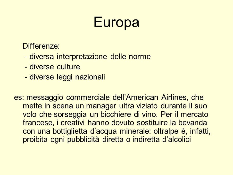 Europa Differenze: - diversa interpretazione delle norme - diverse culture - diverse leggi nazionali es: messaggio commerciale dellAmerican Airlines, che mette in scena un manager ultra viziato durante il suo volo che sorseggia un bicchiere di vino.