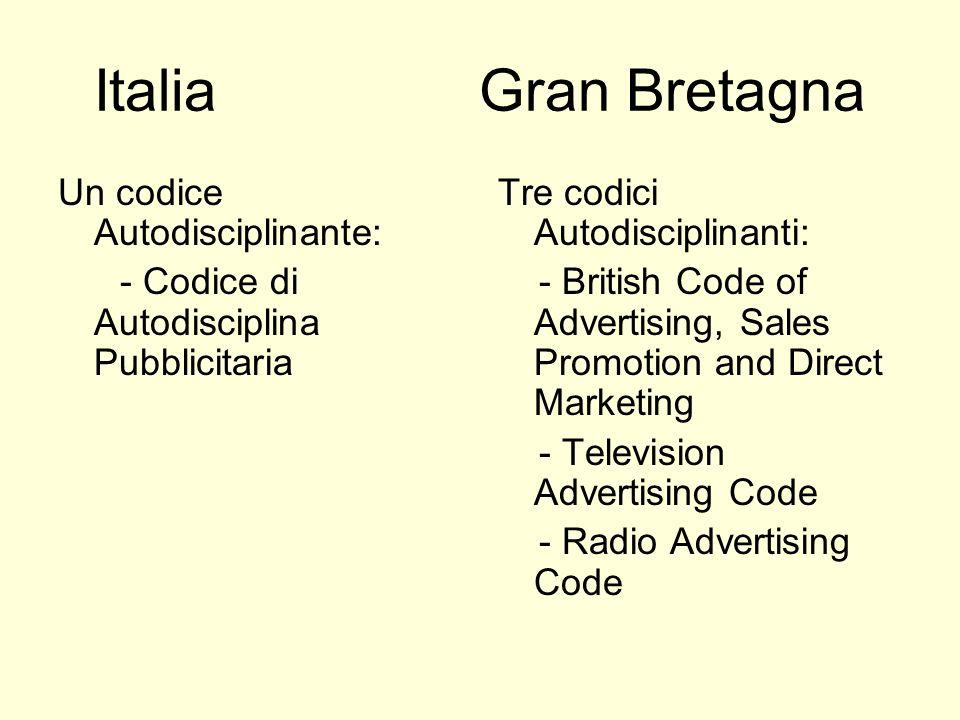 Italia Gran Bretagna Un codice Autodisciplinante: - Codice di Autodisciplina Pubblicitaria Tre codici Autodisciplinanti: - British Code of Advertising, Sales Promotion and Direct Marketing - Television Advertising Code - Radio Advertising Code