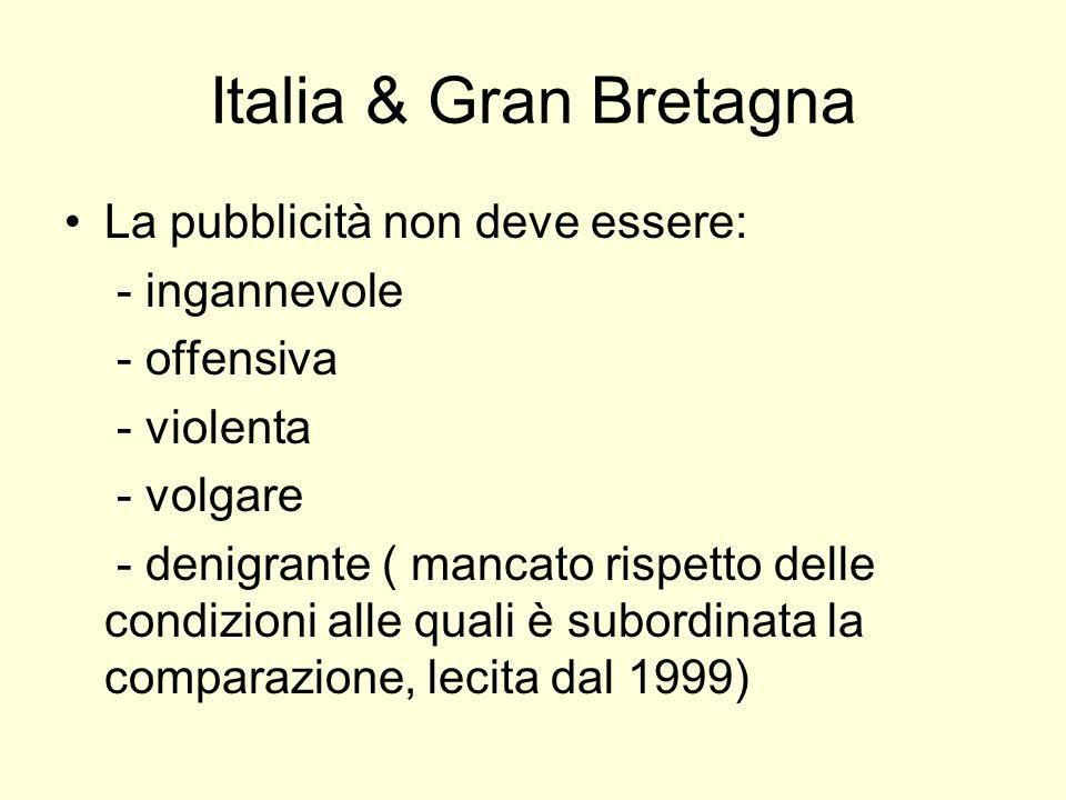 Italia & Gran Bretagna La pubblicità non deve essere: - ingannevole - offensiva - violenta - volgare - denigrante ( mancato rispetto delle condizioni alle quali è subordinata la comparazione, lecita dal 1999)