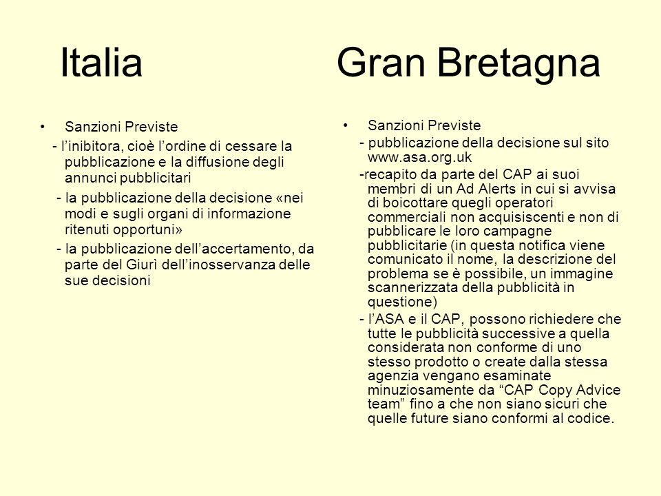 Italia Gran Bretagna Sanzioni Previste - linibitora, cioè lordine di cessare la pubblicazione e la diffusione degli annunci pubblicitari - la pubblica