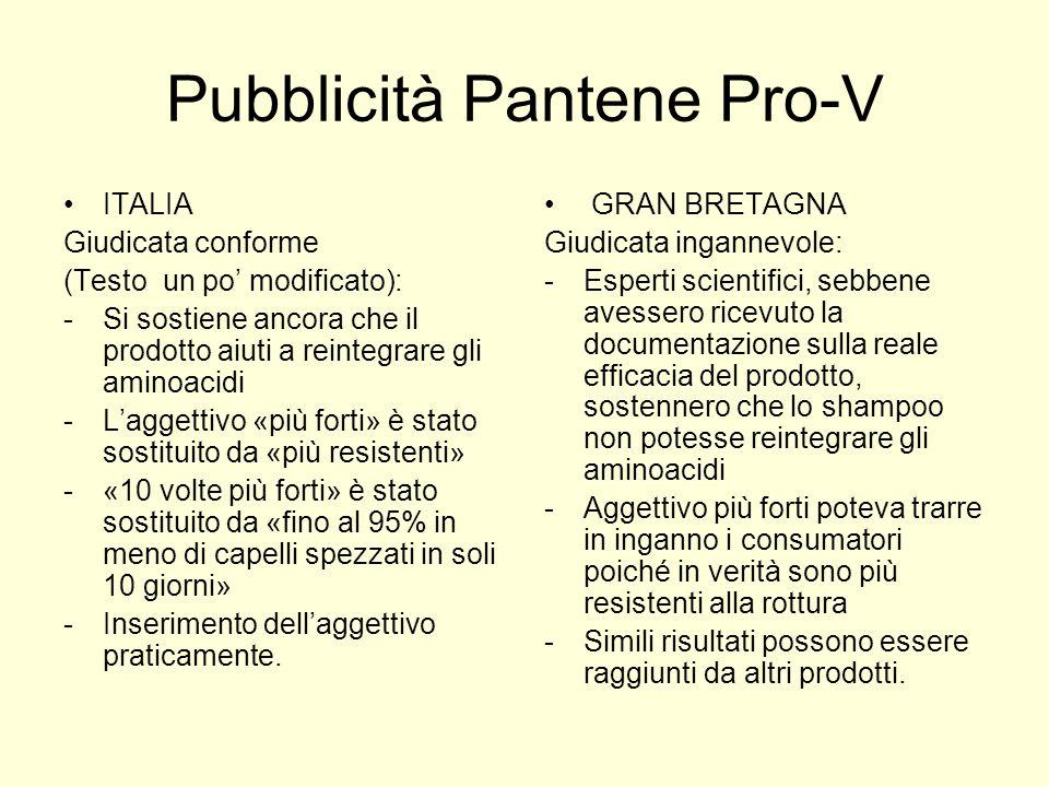 Pubblicità Pantene Pro-V ITALIA Giudicata conforme (Testo un po modificato): -Si sostiene ancora che il prodotto aiuti a reintegrare gli aminoacidi -L