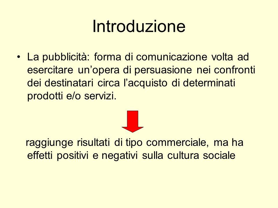 Introduzione La pubblicità: forma di comunicazione volta ad esercitare unopera di persuasione nei confronti dei destinatari circa lacquisto di determi