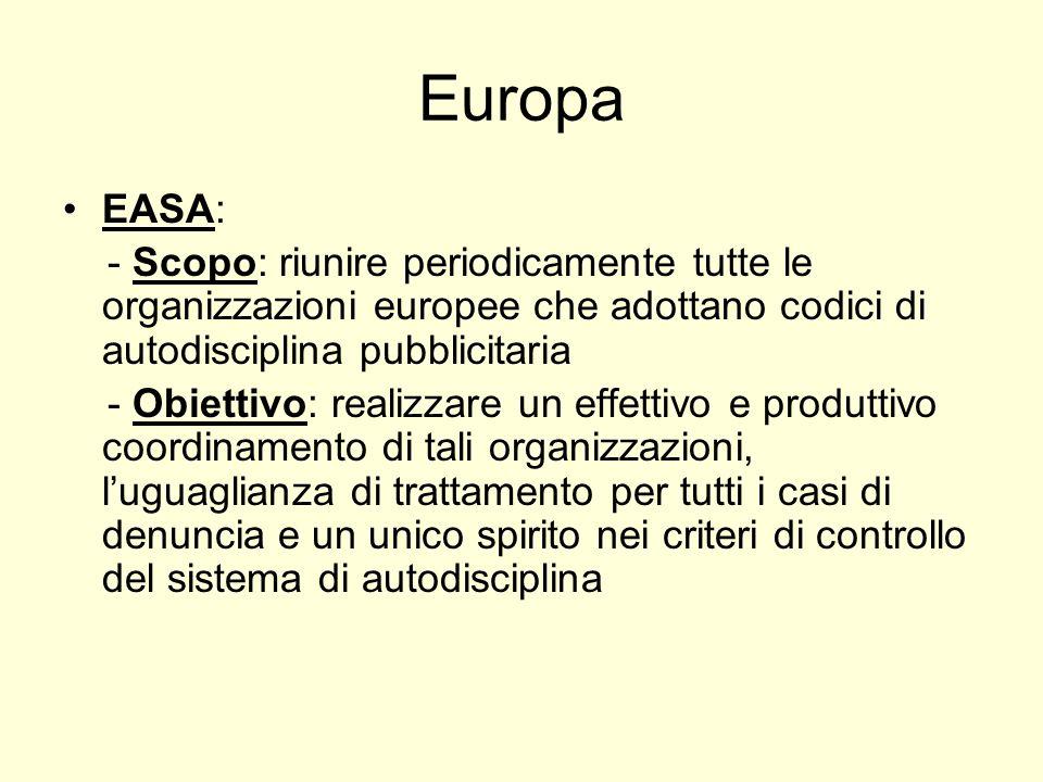 Europa EASA: - Scopo: riunire periodicamente tutte le organizzazioni europee che adottano codici di autodisciplina pubblicitaria - Obiettivo: realizzare un effettivo e produttivo coordinamento di tali organizzazioni, luguaglianza di trattamento per tutti i casi di denuncia e un unico spirito nei criteri di controllo del sistema di autodisciplina