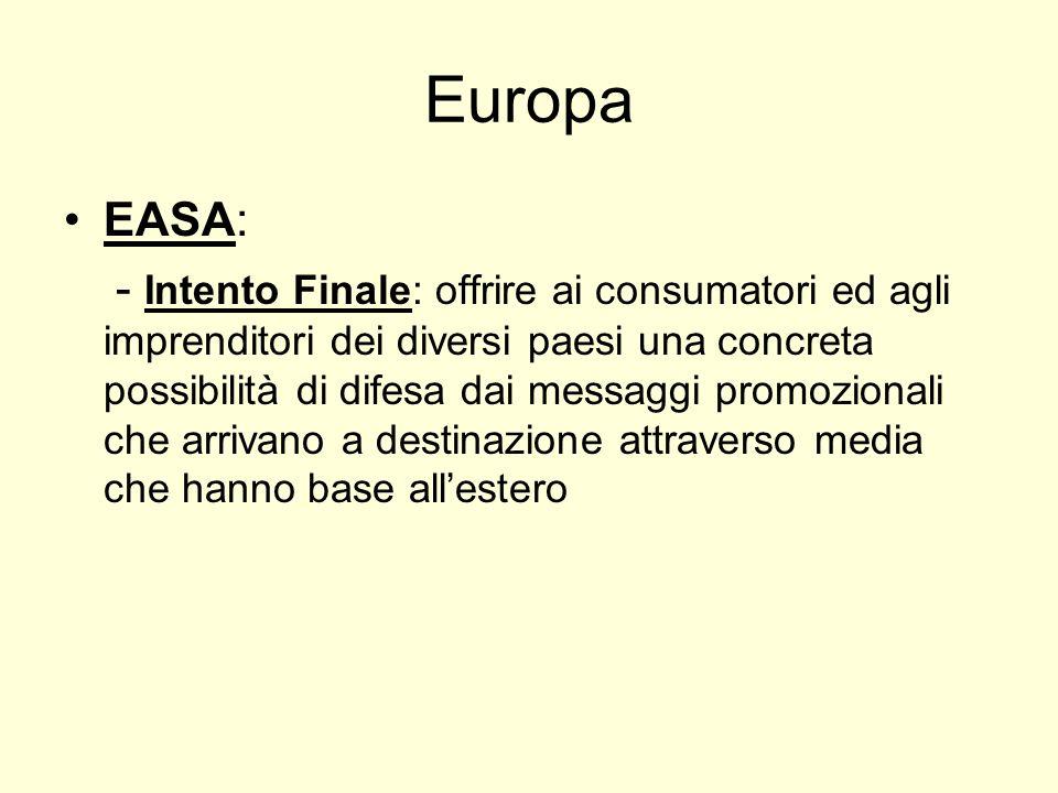 Europa EASA: - Intento Finale: offrire ai consumatori ed agli imprenditori dei diversi paesi una concreta possibilità di difesa dai messaggi promozionali che arrivano a destinazione attraverso media che hanno base allestero