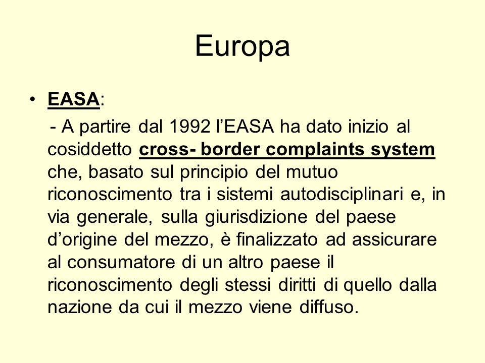 Europa EASA: - A partire dal 1992 lEASA ha dato inizio al cosiddetto cross- border complaints system che, basato sul principio del mutuo riconosciment