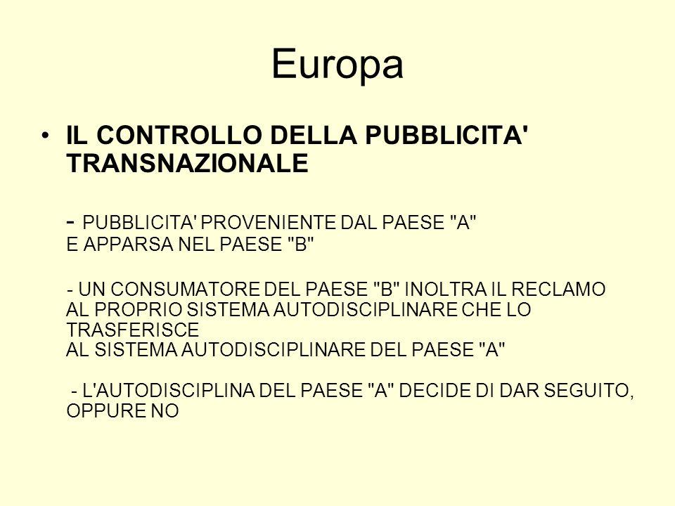 Europa IL CONTROLLO DELLA PUBBLICITA TRANSNAZIONALE - PUBBLICITA PROVENIENTE DAL PAESE A E APPARSA NEL PAESE B - UN CONSUMATORE DEL PAESE B INOLTRA IL RECLAMO AL PROPRIO SISTEMA AUTODISCIPLINARE CHE LO TRASFERISCE AL SISTEMA AUTODISCIPLINARE DEL PAESE A - L AUTODISCIPLINA DEL PAESE A DECIDE DI DAR SEGUITO, OPPURE NO