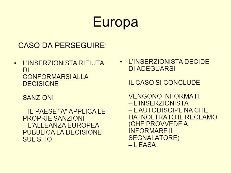 Europa CASO DA PERSEGUIRE : L INSERZIONISTA RIFIUTA DI CONFORMARSI ALLA DECISIONE SANZIONI – IL PAESE A APPLICA LE PROPRIE SANZIONI – L ALLEANZA EUROPEA PUBBLICA LA DECISIONE SUL SITO L INSERZIONISTA DECIDE DI ADEGUARSI IL CASO SI CONCLUDE VENGONO INFORMATI: – L INSERZIONISTA – L AUTODISCIPLINA CHE HA INOLTRATO IL RECLAMO (CHE PROVVEDE A INFORMARE IL SEGNALATORE) – L EASA