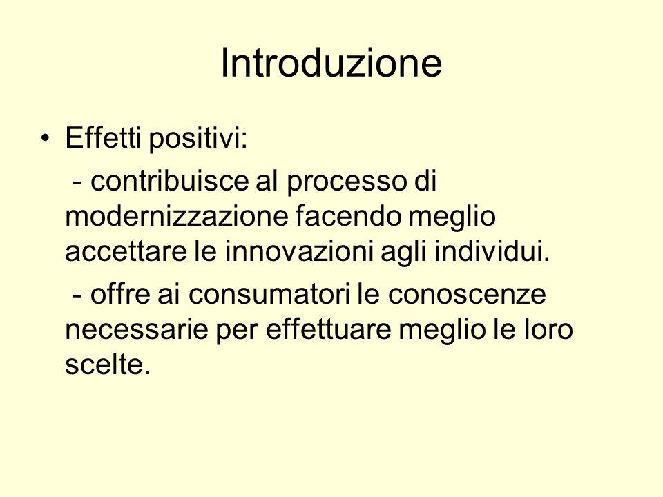 Introduzione Effetti positivi: - contribuisce al processo di modernizzazione facendo meglio accettare le innovazioni agli individui. - offre ai consum