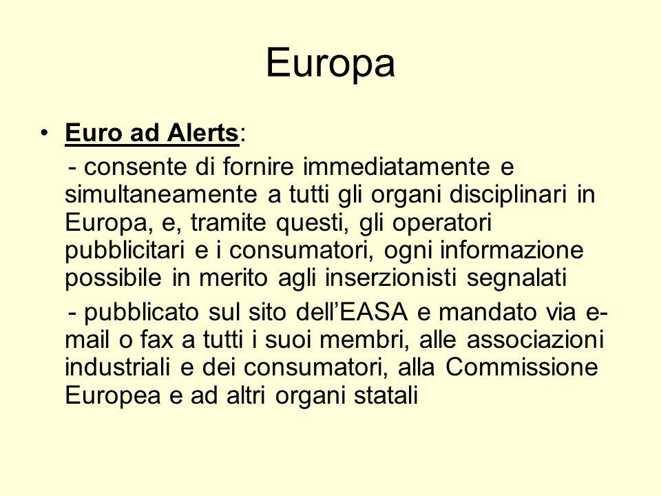 Europa Euro ad Alerts: - consente di fornire immediatamente e simultaneamente a tutti gli organi disciplinari in Europa, e, tramite questi, gli operat