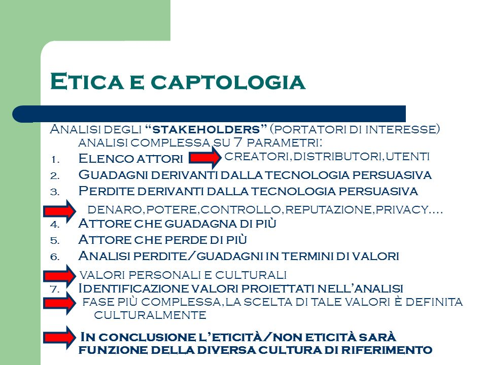 Etica e captologia Analisi degli stakeholders (portatori di interesse) analisi complessa su 7 parametri: 1. Elenco attori 2. Guadagni derivanti dalla