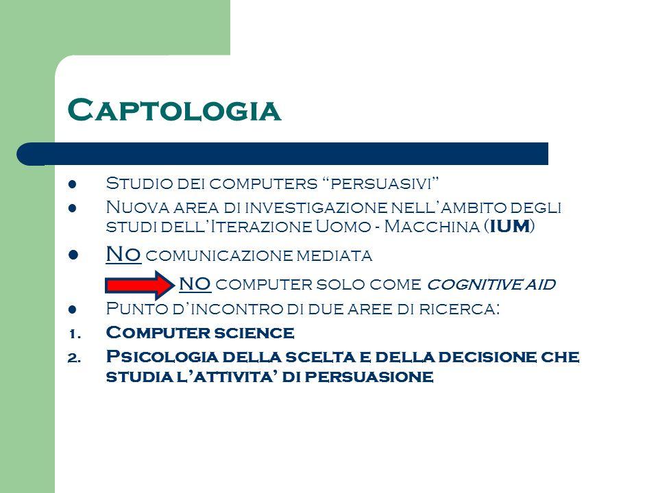 Captologia Studio dei computers persuasivi Nuova area di investigazione nellambito degli studi dellIterazione Uomo - Macchina ( IUM ) No comunicazione
