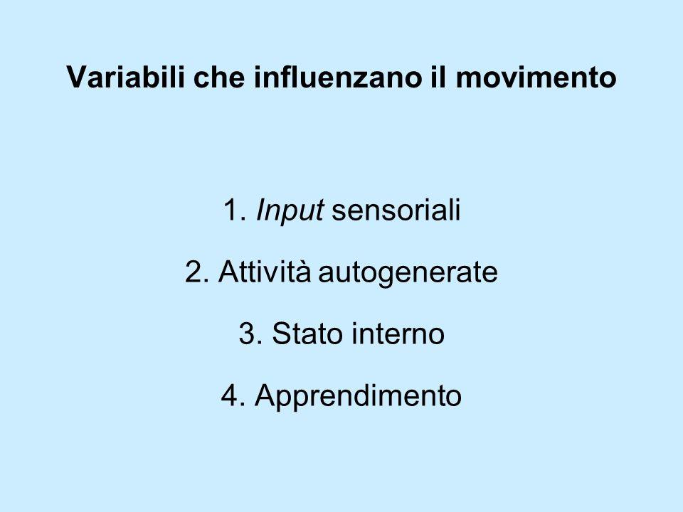 Variabili che influenzano il movimento 1. Input sensoriali 2. Attività autogenerate 3. Stato interno 4. Apprendimento