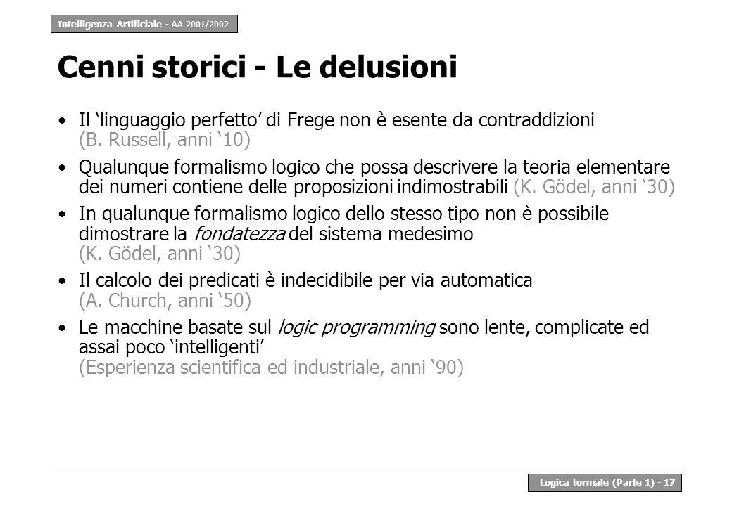 Intelligenza Artificiale - AA 2001/2002 Logica formale (Parte 1) - 17 Cenni storici - Le delusioni Il linguaggio perfetto di Frege non è esente da con