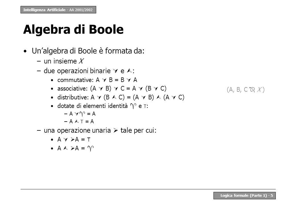 Intelligenza Artificiale - AA 2001/2002 Logica formale (Parte 1) - 5 Unalgebra di Boole è formata da: –un insieme X –due operazioni binarie e : commut