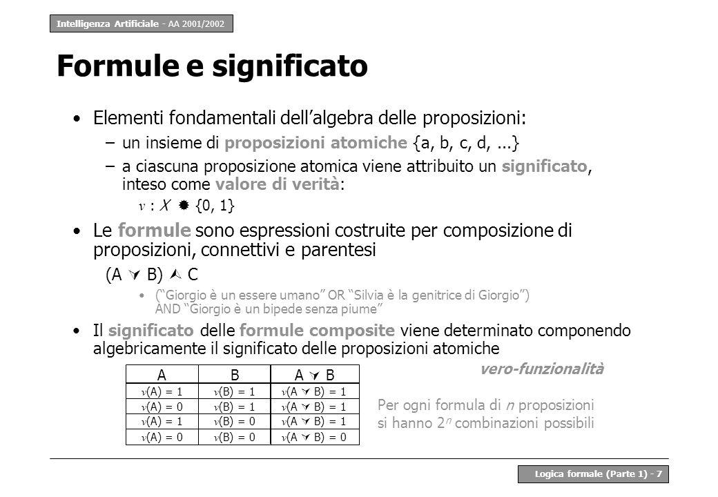 Intelligenza Artificiale - AA 2001/2002 Logica formale (Parte 1) - 7 Elementi fondamentali dellalgebra delle proposizioni: –un insieme di proposizioni