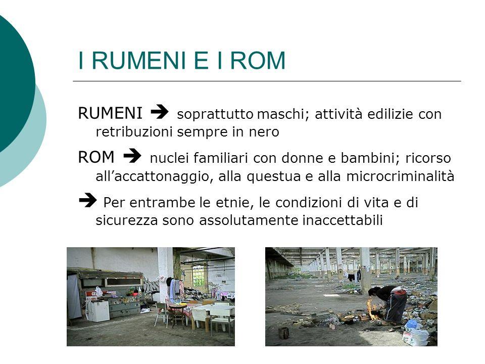 I RUMENI E I ROM RUMENI soprattutto maschi; attività edilizie con retribuzioni sempre in nero ROM nuclei familiari con donne e bambini; ricorso allacc